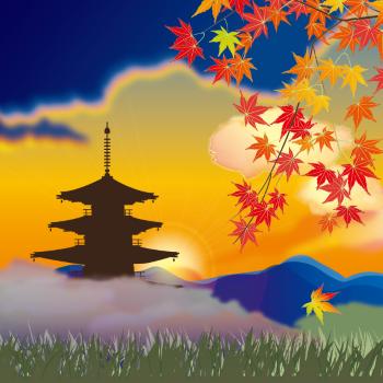 小京都によくみられる五重塔画像