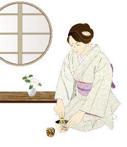 お茶をたてている着物姿の女性のイラスト画像