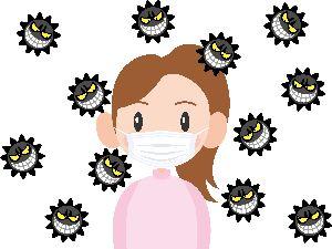 マスクとした女性と取り巻くばい菌たちの画像