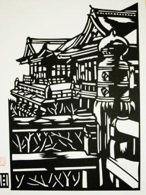 清水寺の切り絵画像