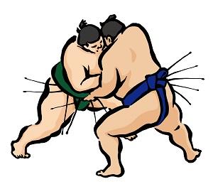 相撲の取り組みのイラスト画像
