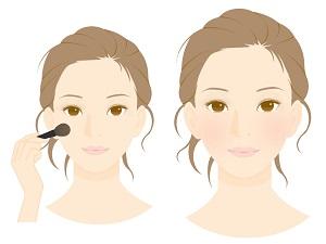 「チーク」を施している若い女性のイラスト画像