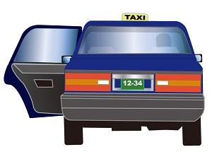 タクシーの自動ドアの画像