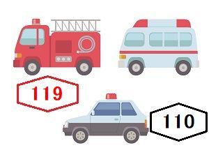 警察は110番、消防は119番、パトカー、消防車、救急車のイラスト画像