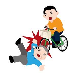 歩道で自転車が歩行者にぶつかったときのイラスト画像