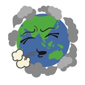 「地球温暖化」の原因となる二酸化炭素(CO2)や、メタンガスなど「温室効果ガス」で苦しんでいる地球を擬人化した画像