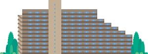 巨大マンションの外観を示すイラスト画像