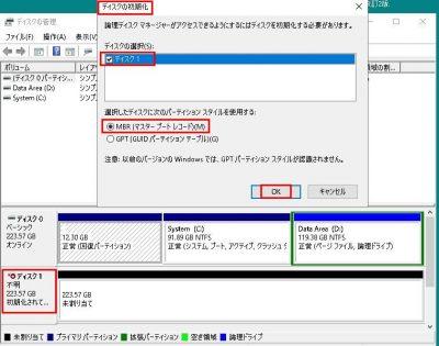 [ディスク管理]画面上の[ディスクの初期化]というポップアップ画面画像