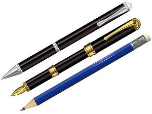 「礼状」や「紹介状」のような改まった文書にはボールペンや鉛筆ではなく万年筆を使うべきとするイラスト画像