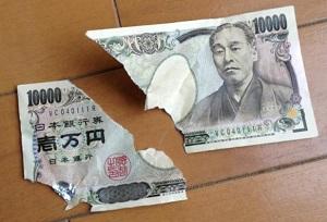 破れてしまった一万円札の画像