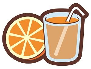 オレンジとオレンジジュースのイラスト画像
