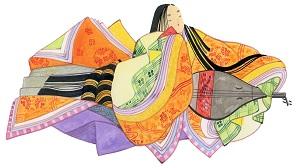 十二単を着た女性のイラスト画像