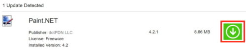 「アップデートファイルのダウンロード」ボタン画像